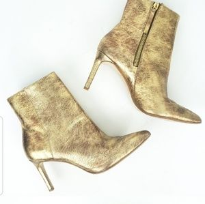 Zara Gold Shiny Leather High Heel Ankle Boot